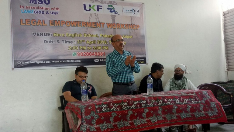 Legal Empowerment Workshop at Jaipur by MSO